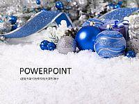 精美蓝色圣诞彩球PPT模板下载