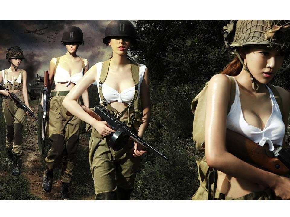 二战风云美女PPT背景图片