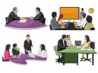 商务人物会议汇报总结剪影类PPT素材
