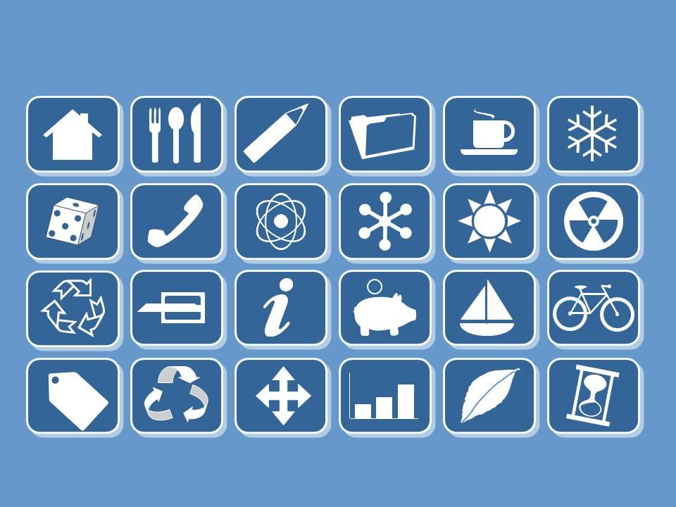 蓝色背景实用PPT素材图标合集