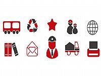 简约的红黑配色PPT商务图标素材