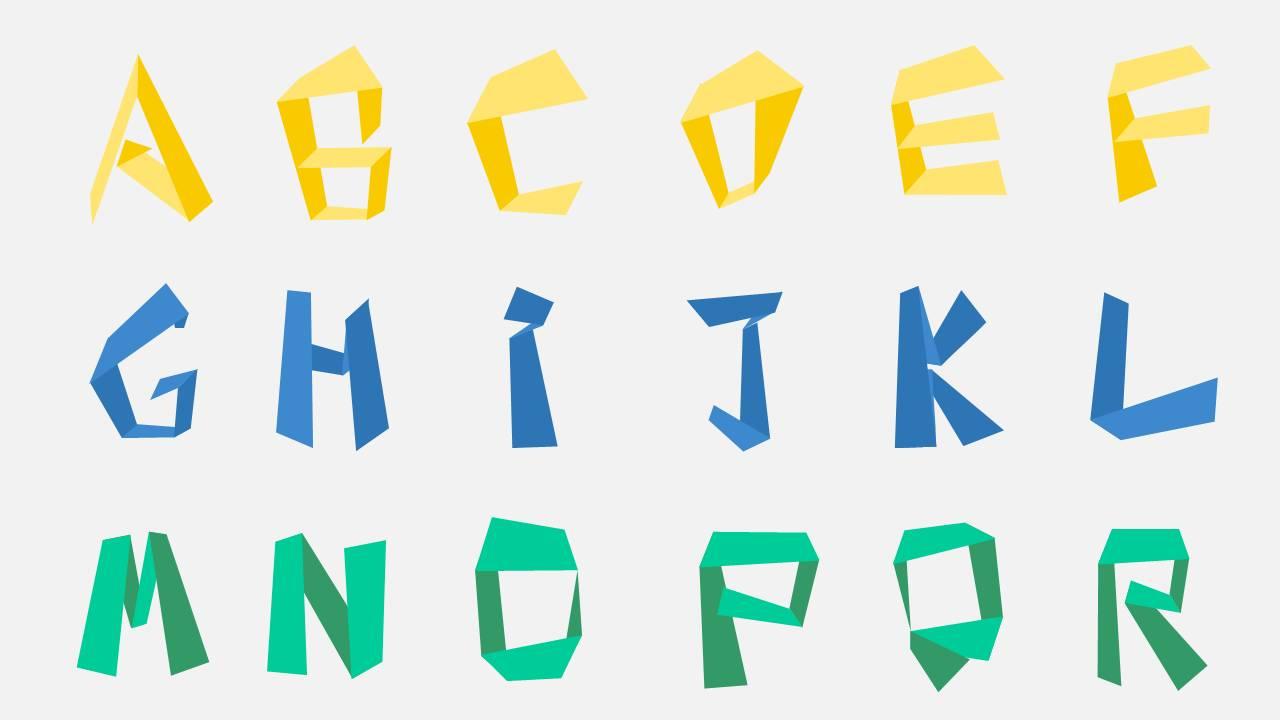 创意折纸立体化英文字体PPT素材