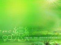 清澄之恋绿色风格PPT模板背景图片素材