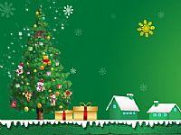 庆圣诞迎元旦绿色ppt背景图片