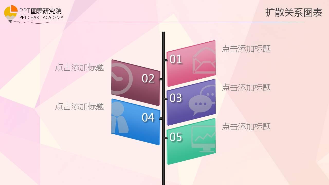 粉色背景的精美PPT图表