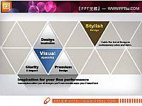 商务蓝与黄色搭配图表PPT模板