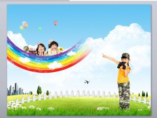 彩虹端的孩童科教幻教类行业ppt模板下载