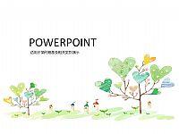 卡通植树活动PPT模版下载